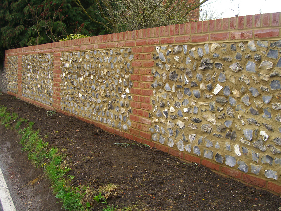 Allen Landscaping - Brick and Flint Wall